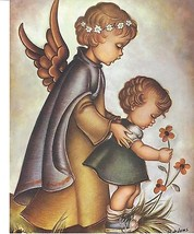 """Catholic Print Picture Religious GUARDIAN ANGEL w/ GIRL 8x10"""" ready to f... - $14.01"""