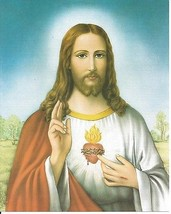 "Catholic Print Picture SACRED HEART OF JESUS Tarantino - ready to frame 8x10"" - $14.01"