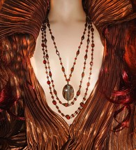 Gothic Medieval Necklace Haunted agate antique rosary cross statement 3 strand  - $110.00