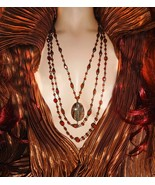 Gothic Medieval Necklace Haunted agate antique rosary cross statement 3 ... - $110.00