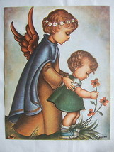 Catholic Print Picture Guardian Angel With Girl Religious Christian 11x14 - $17.75