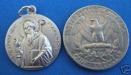 Catholic Medal ST. BENEDICT Benedictine Monk silver finish metal 25mm - $12.19