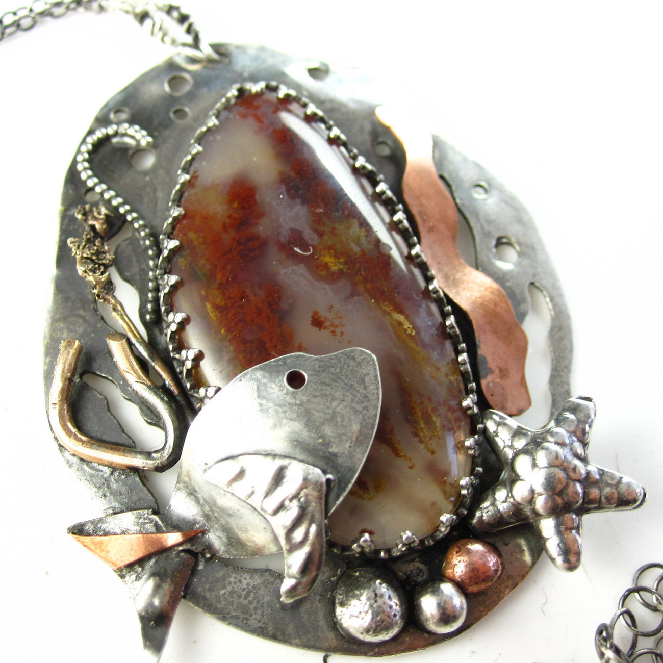 Under the Sea - Sterling, Copper and Red Plume Agate Necklace