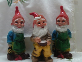 Vintage Set of Three Zeho W. Germany Molded Plastic Lawn/Garden Gnomes - $30.00