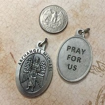 1-1/2 Inch Archangel Michael Protection Medal Pendant Pray for Us Silver Tone - $9.99