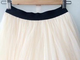 Cream Ivory Long Tulle Skirt High Waisted Ivory Tulle Skirt, Plus Size XXXL NWT image 2
