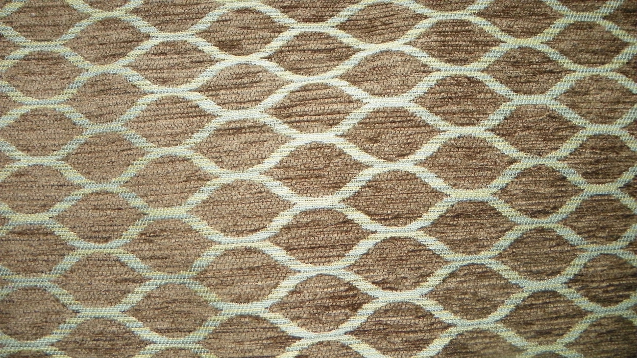 Taupe Blue Contemporary Print Chenille Upholstery Fabric 1 Yard  F799