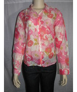 I LOVE H81 Blooming Silk-Blend Shirt Coral/Pink Size Small - $19.99