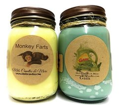 Monkey Farts & Gain Type - Set of Two 16oz All Natural Soy Candles [Kitc... - €23,83 EUR