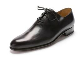 Handmade Men Black Genuine Leather Formal Shoes, Mens Lace Up Black Dress Shoes - $159.99