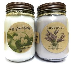 Lavender & Lily of Valley Set of TWO 16oz Soy Candles APX Burn Time 144 ... - £19.98 GBP