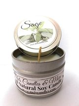 Sage 4oz All Natural Soy Candle Tin Approximate Burn Time 36 Hours [Kitc... - £4.27 GBP
