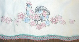 Set of Two Vintage Hand Embroidered Rooster Pillowcases - $12.99