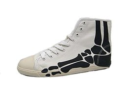 BE&D by Maison Dumain Boogie Men Bones on White Canvas Black - $49.49