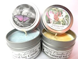 Honeysuckle & Jasmine - Set of TWO 4oz All Natural Soy Candle Tins [Kitc... - $9.99