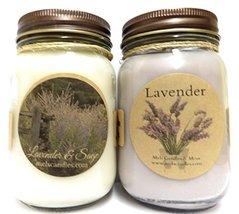 Combo - Lavender and Lavender & Sage Set of Two 16oz Soy Candles APX Bur... - £17.12 GBP