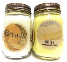 Bread and Butter Set of Two 16oz All Natural Soy Candles Novelty Candles - $26.99