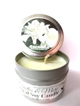Gardenia 4oz All Natural Tin Soy Candle, Take It Any Where Approximate B... - $5.99