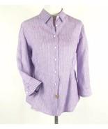 COLDWATER CREEK Petite L (14-16) Striped Linen Shirt Blouse EUC - $17.98