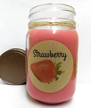 Fresh Strawberry 16oz Country Jar All Natural Soy Candle Approximate Bur... - $12.99