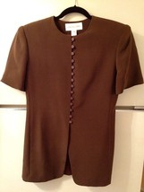 Silk Tunic Jacket JONES NEW YORK Size 4 Short Sleeve Brown Buttons Asian... - $19.60