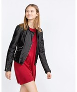 BNWT ZARA REAL  LEATHER BIKER JACKET WITH ZIPS ... - $69.99