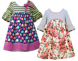 Little Girls 2T-6X 3/4 Bell Sleeve Striped Knit to Novelty Print Dress