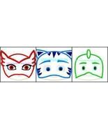 PJ Masks Face Set  Machine Embroidery APPLIQUE GET INSTANT  DOWNLOAD RIG... - $9.99
