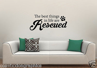 The Best Things in Life Are Rescued Wall Vinyl Decal Perfect for Rescue Shelters - $19.99