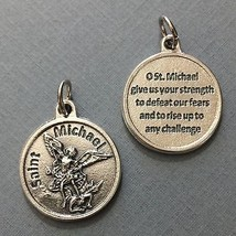 "Saint Michael Archangel Protection Medal Pendant with Prayer Silver Tone 3/4"" - $14.99"