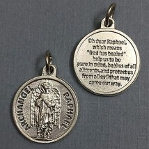 "Archangel Raphael Protection Medal Pendant with Prayer Religious Catholic 3/4"" - $14.99"