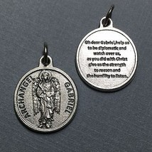 "Archangel Gabriel Protection Medal Pendant with Prayer Catholic Silver Tone 3/4"" - $14.99"