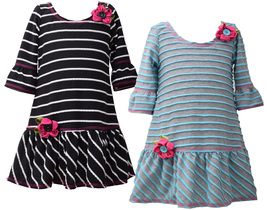 Little Girls 2T-6X 3/4 Bell Sleeve Dual Striped Knit Drop Waist Dress