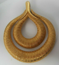 Vintage Signed Crown Trifari Gold-tone Double Loop Textured Pendant  - $23.76