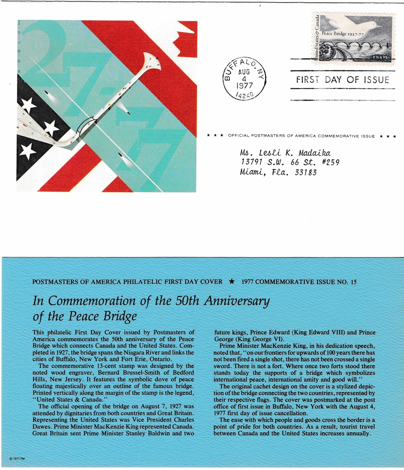 1977 USPS, 50th Anniversary of the Peace Bridge, 13 cent, 1st Day of Issue