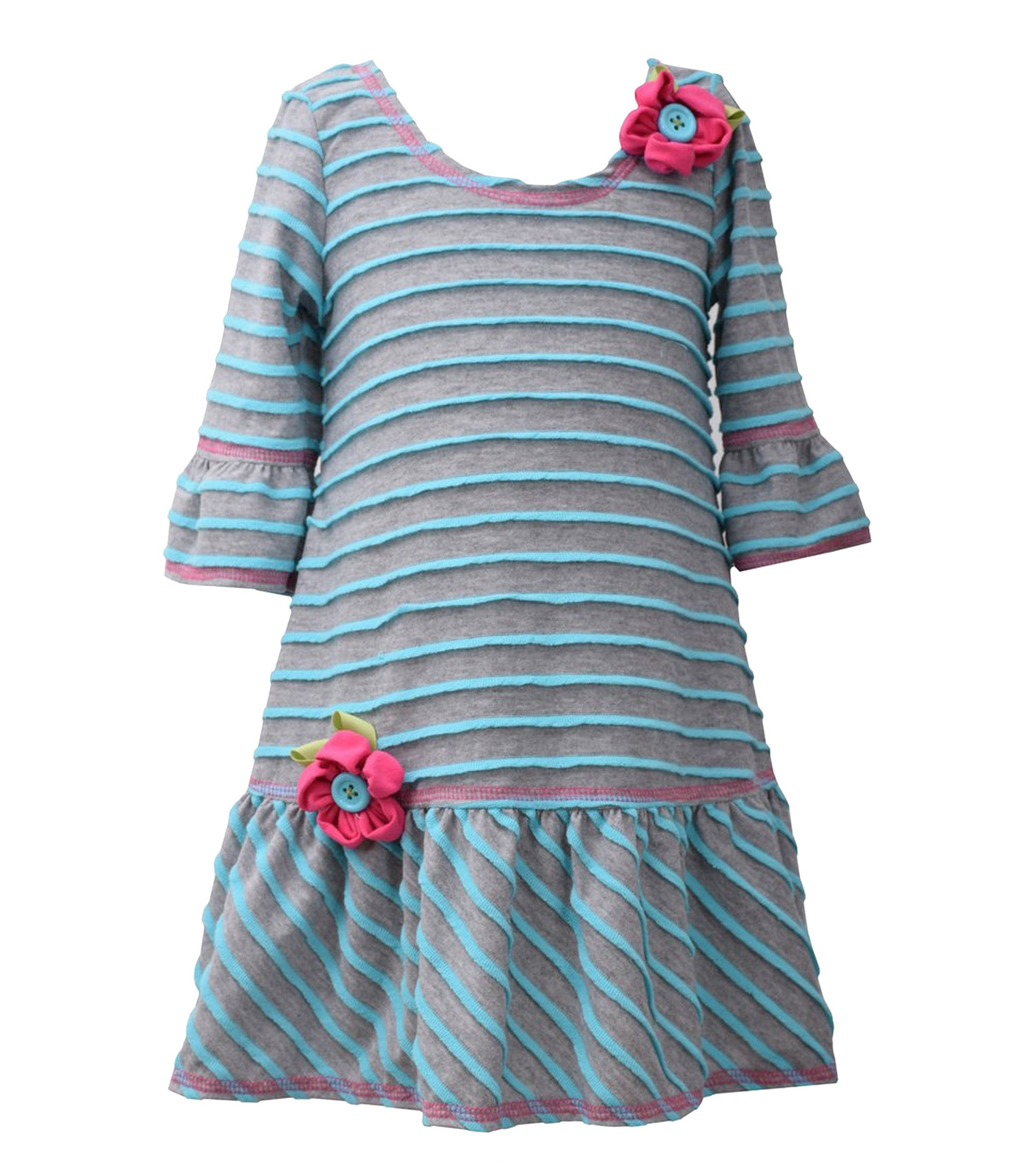 Little Girls 2T-6X Grey/Blue 3/4-Bell Sleeve Striped Knit Drop Waist Dress