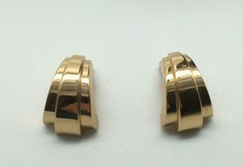Vintage Christian Dior Clip on Earrings Gold Tone Abstract Art Deco Style - $69.00