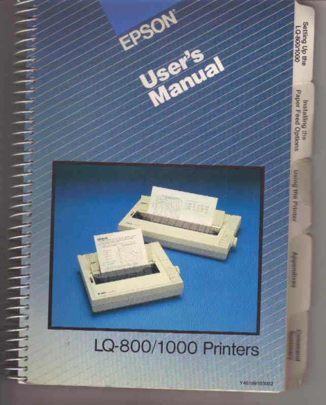 Epson LQ-800 & LQ-1000 dot matrix printers User's Manual -- excellent condition