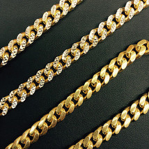 8.7mm 14k Yellow Gold 925 Sterling Silver Miami Cuban Solid Chain 32 Inch Italiy - $373.80