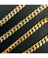 8.7mm 14k Yellow Gold 925 Sterling Silver Miami Cuban Solid Chain 32 Inc... - $373.80