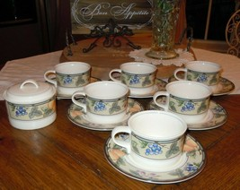 Mikasa Intaglio Garden Harvest 14Pc Coffee Cup & Saucer Set Sugar Bowl CAC29 - $69.29