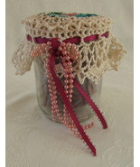 Potpourri Jar with Irish Crochet Topper, Hand Crocheted Ecru/Pink - $15.00