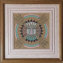 "Vintage Authentic Fred Harvey Navajo Sand Painting signed by Artist ""Pol... - $183.25"
