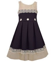 Little Girls 2T-6X Illusion Lace Texture Knit Fit and Flare Dress
