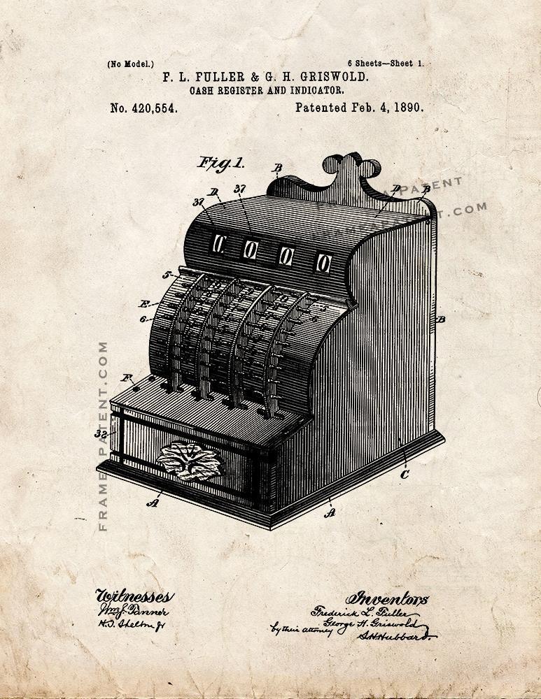 Cash Register Patent Print - Old Look
