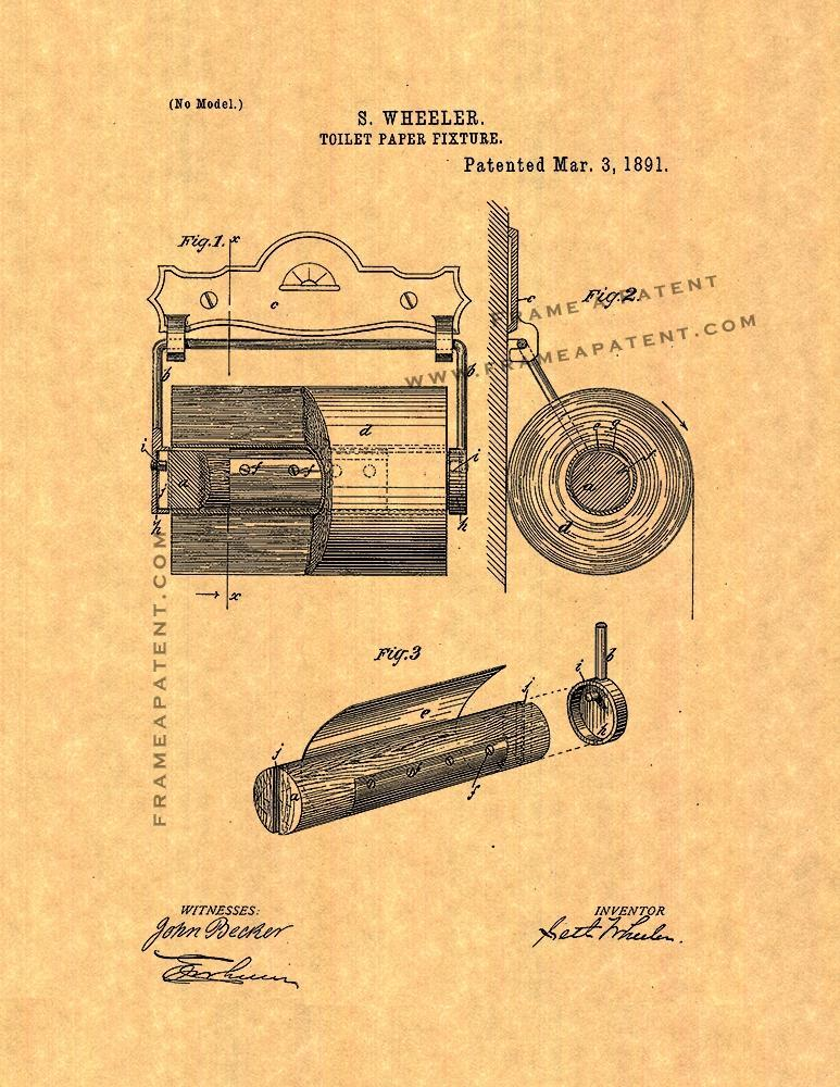 Toilet Paper Holder Patent Print Posters