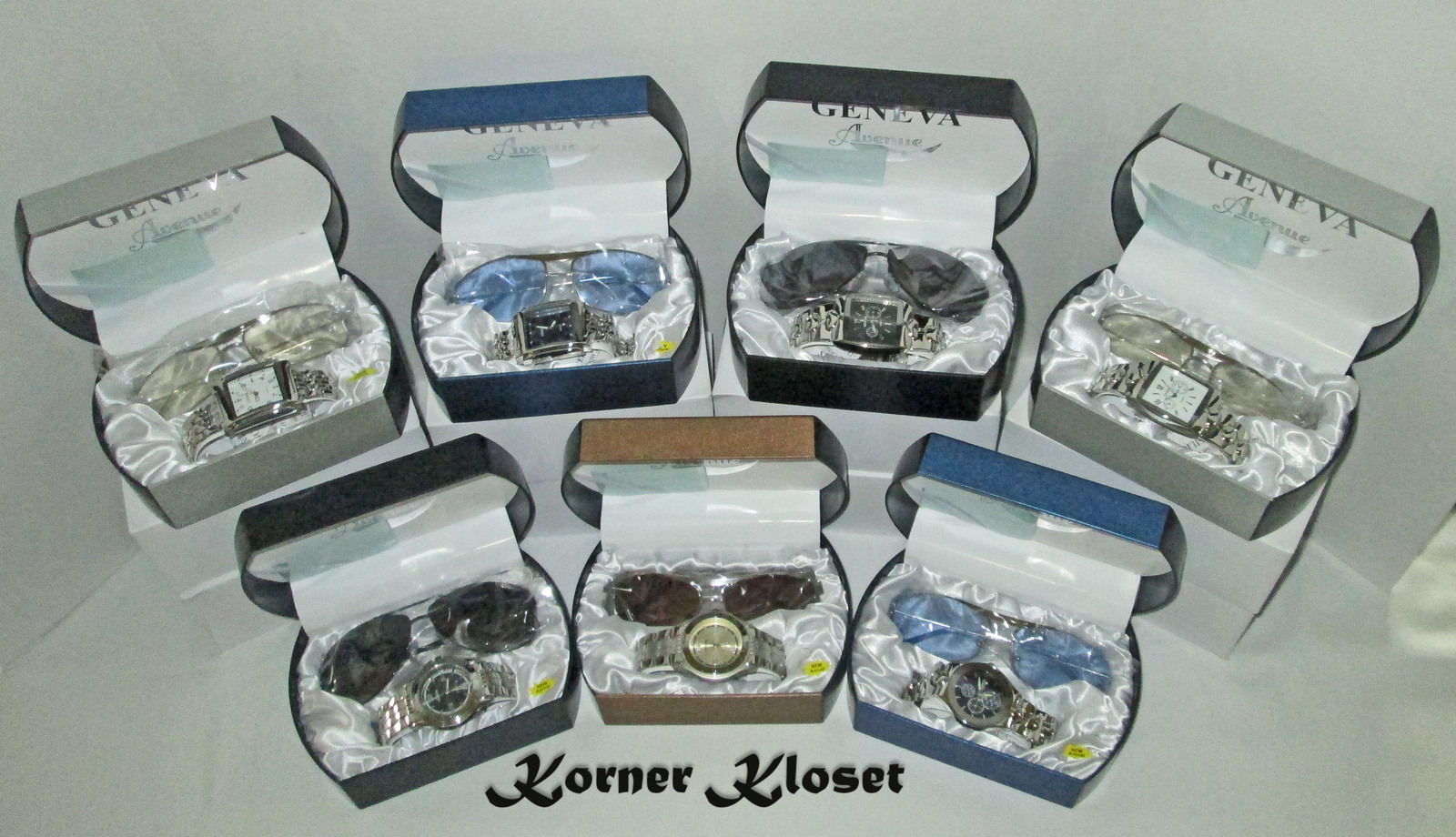 Lot of Seven Sets - Geneva Wristwatch and Sunglasses in Cases - NIB