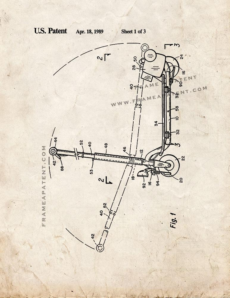 Sport Goped Motor Scooter Patent Print - Old Look