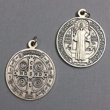 Saint Benedict Exorcism Protection Catholic Medal Pendant Silver Tone 1-... - $12.99