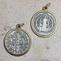 Saint Benedict Exorcism Protection Medal Pendant Gold Silver Tone 1-1/2 Inch - $9.99
